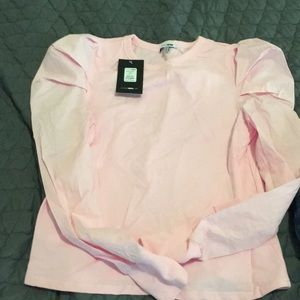 NWT light pink puffy shoulder cotton blouse